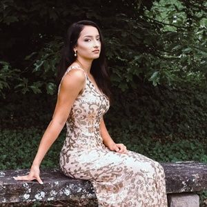 Light gold prom dress